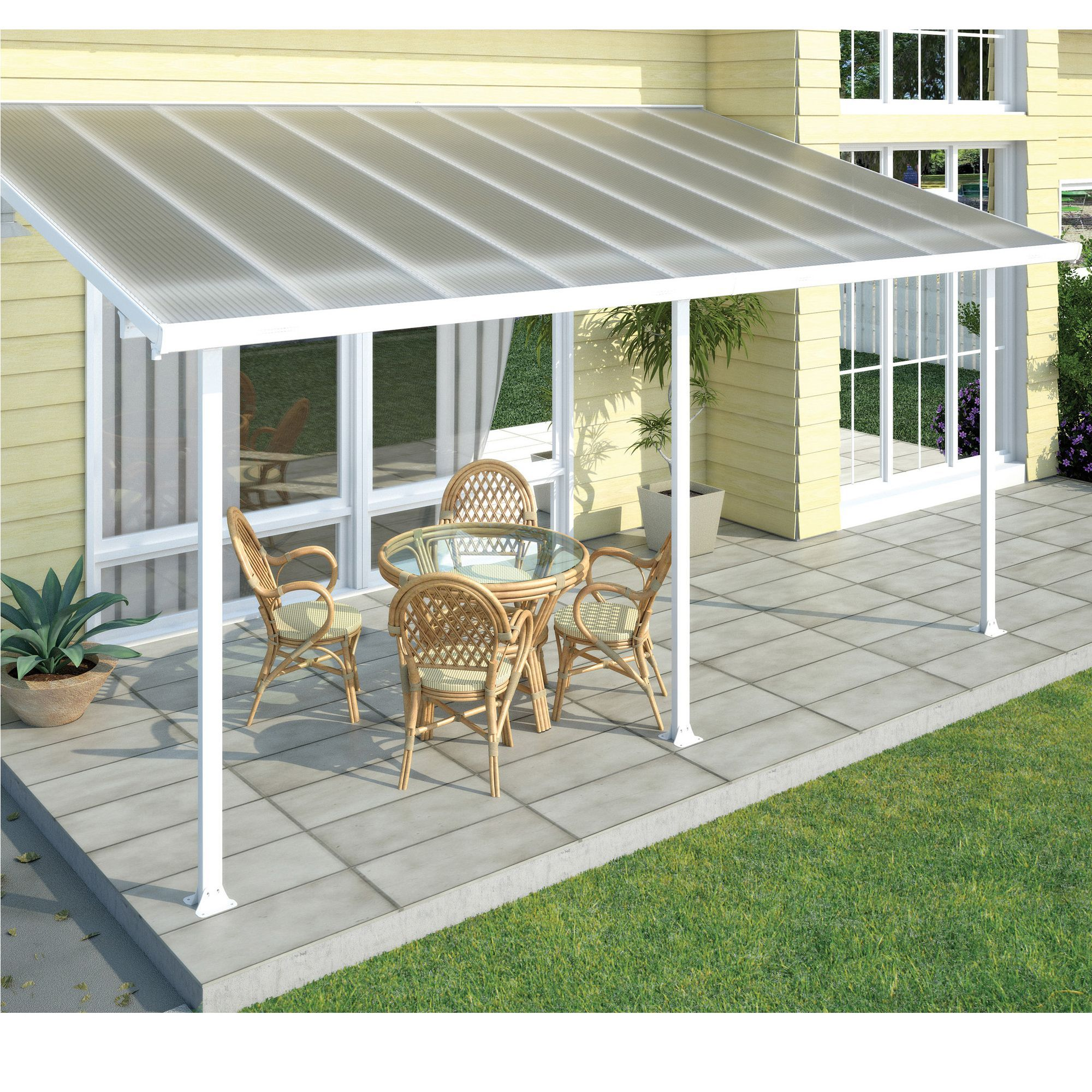 Toit de protection pour terrasse 3x6m blanc pergola les pergolas et parasols meubles de for Meubles pour jardins et terrasses