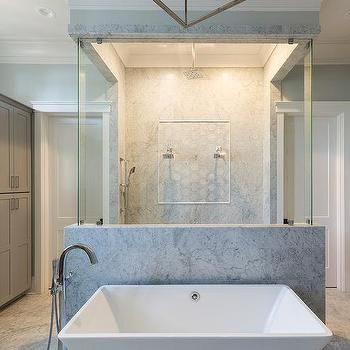custom shower for two with sideside shower heads | bathroom in