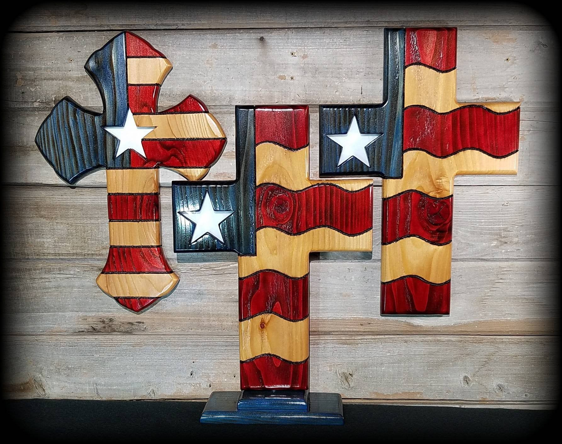 American flag cross patriotic cross stained glass star usa