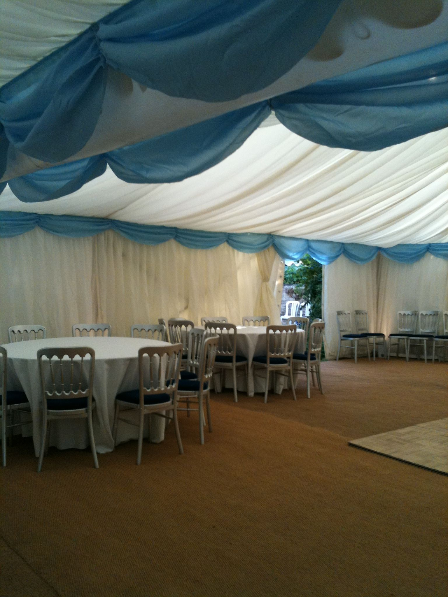 marquee to sit 120 with ample dance floor space. swags in all colours