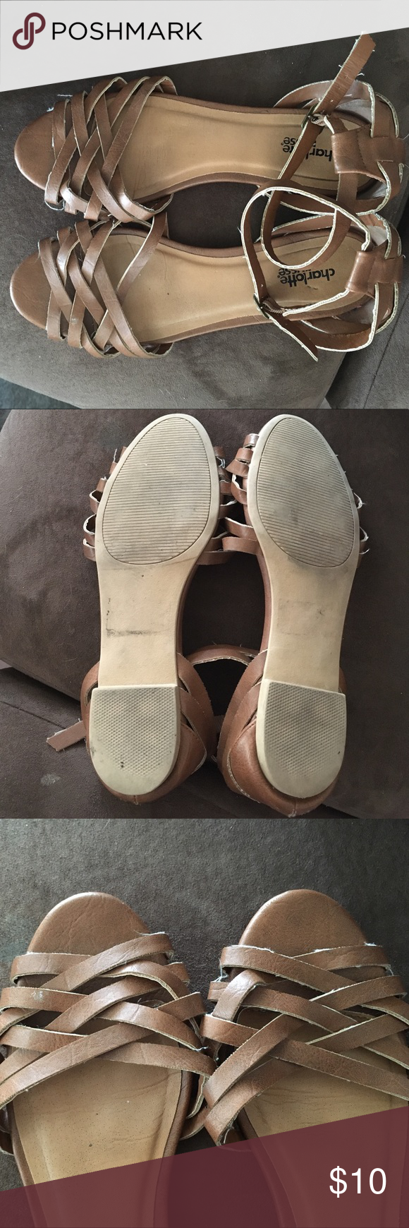 Brown Sandals Size 7.5 Charlotte Russe sandals, worn quite a bit but still cute! Charlotte Russe Shoes Sandals