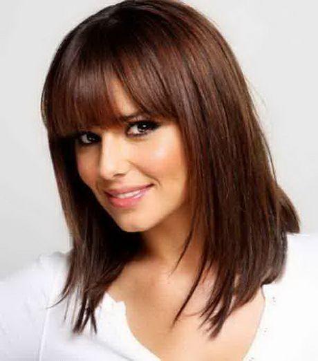 Medium Haircuts Fine Hair Medium Layered Haircut Wstraight Bangs