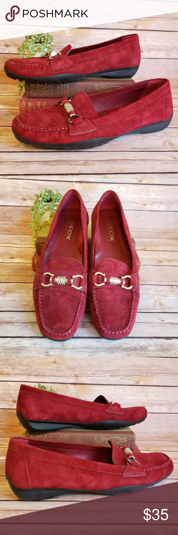 Apellido Están familiarizados Regresa  Geox Red Suede Driving Loafers Size 40/10 EUC | Red suede, Driving loafers,  Geox
