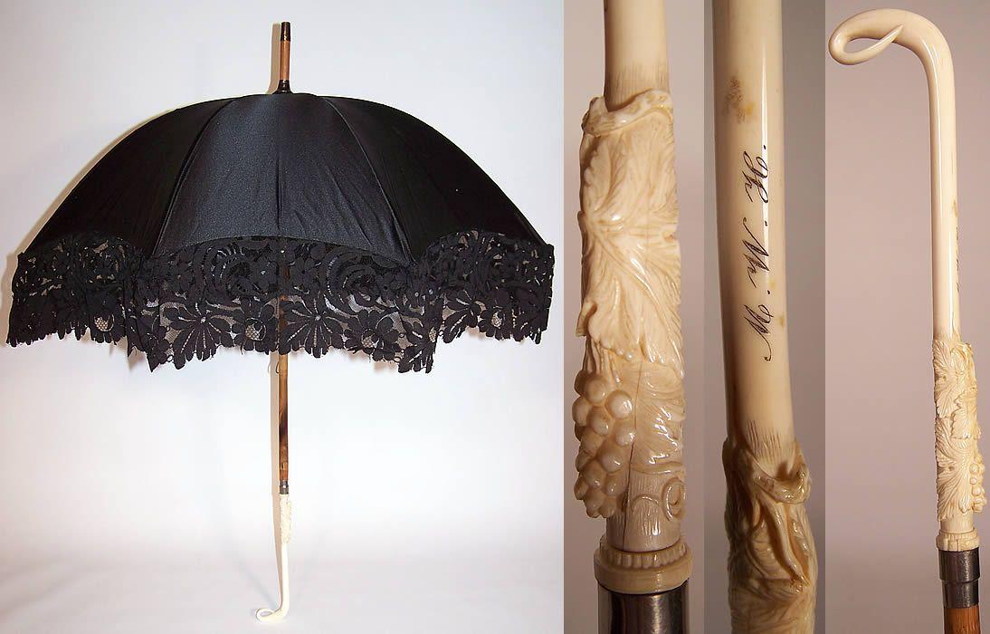 Victorian Black Silk Lace Carved Grape Leaf Handle Parasol ...