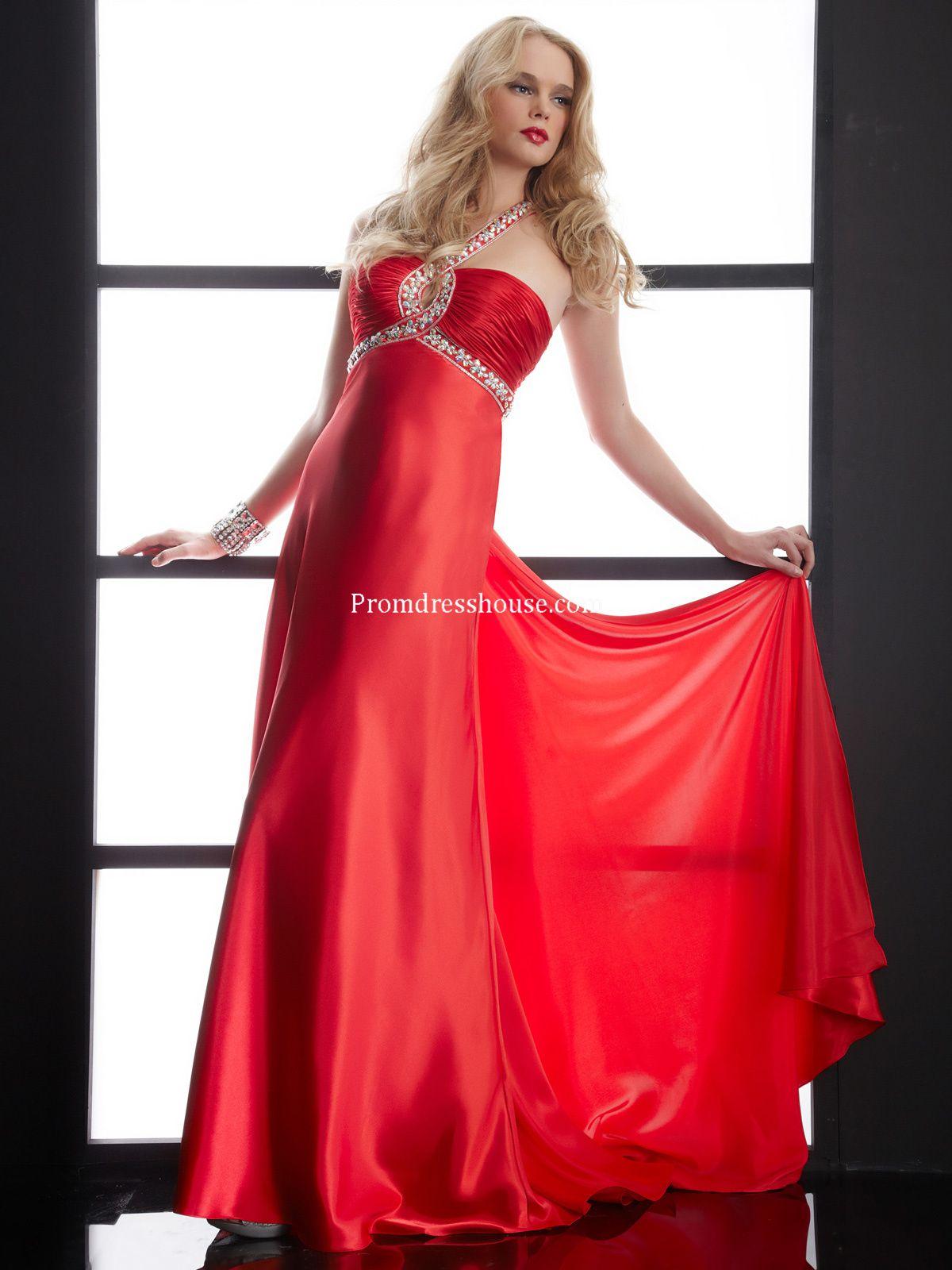 1c1242cc946 Keyhole Red Empire Beading Satin Halter Prom Dress