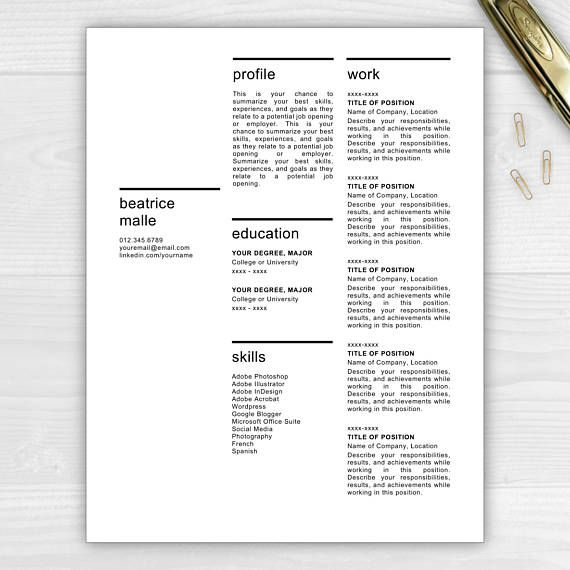 1-Page Modern Resume Template for Microsoft Word \ Mac Pages - mac pages resume templates