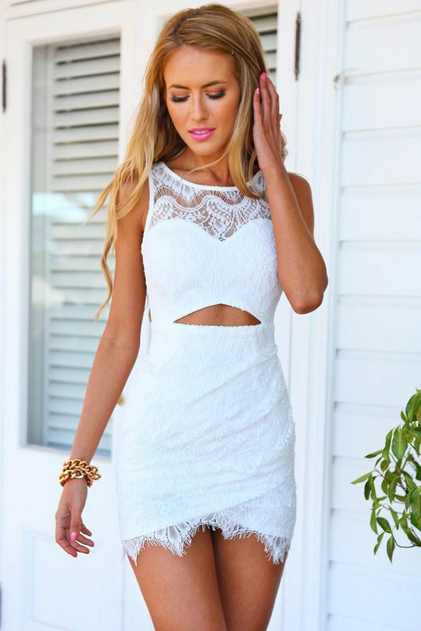 7f5837862e4 Sheath Crew Cut Out Short Sleeveless White Lace Homecoming Dress ...