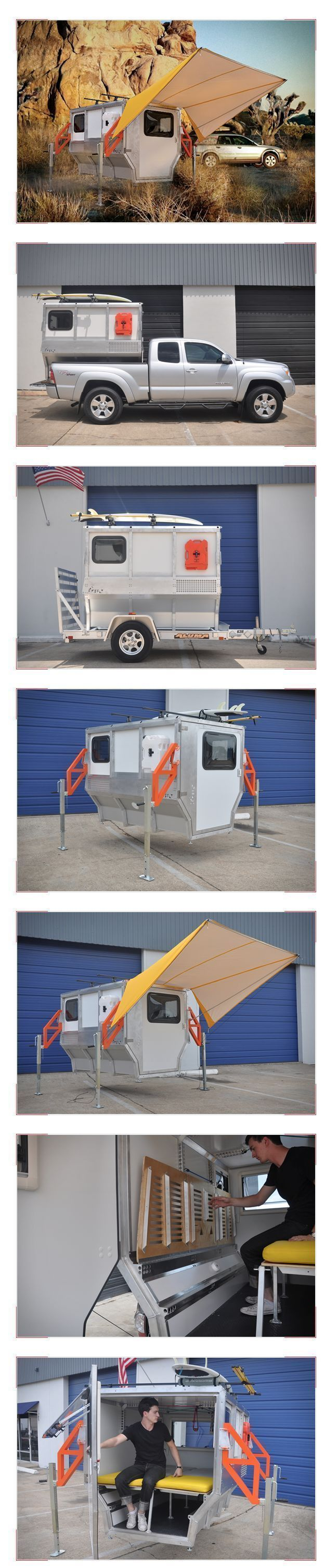 Firefly Trailer #campеr The same guys behind the unique Cricket Trailer our now working on a new trailer called Firefly. With a space habitat module kinda feel, the Firefly Trailer is a camper and a tool box, inside and out. The lightweight, aluminum  habitacle weighs only 600lbs and is easily transported in the bed of a pickup truck or in a small trailer. It features a folding couch and plenty of storage space for all your tools and gear, plus it can be safely elevated from the ground with lu #campеr