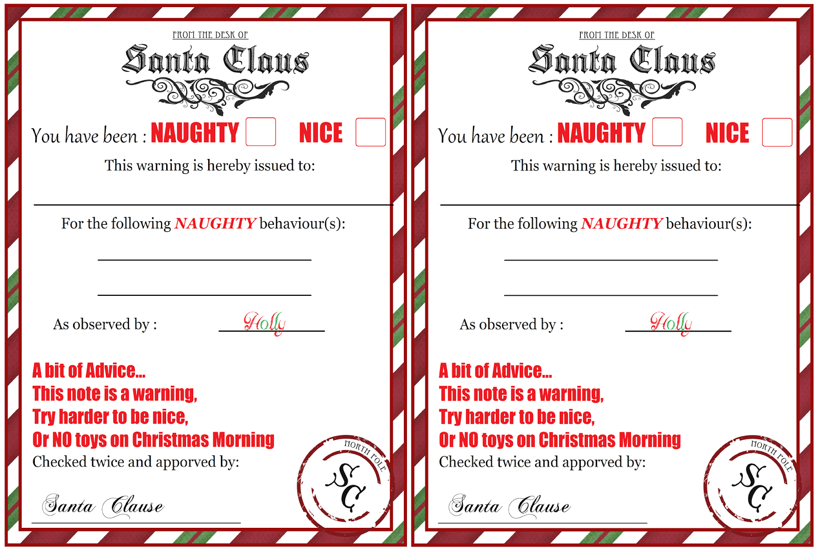 Naughty list warning notice from santa free printable free naughty list warning notice from santa free printable free printable elves and santa alramifo Choice Image