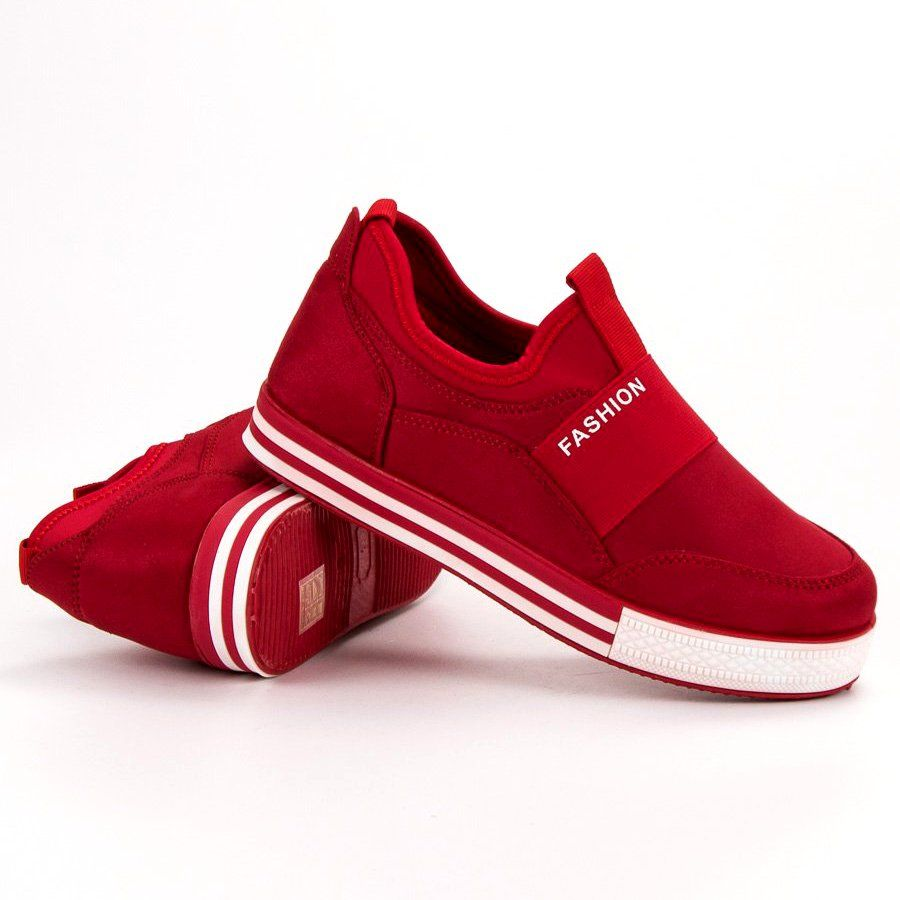 Shelovet Wsuwane Sneakersy Czerwone Shoes Sneakers Fashion