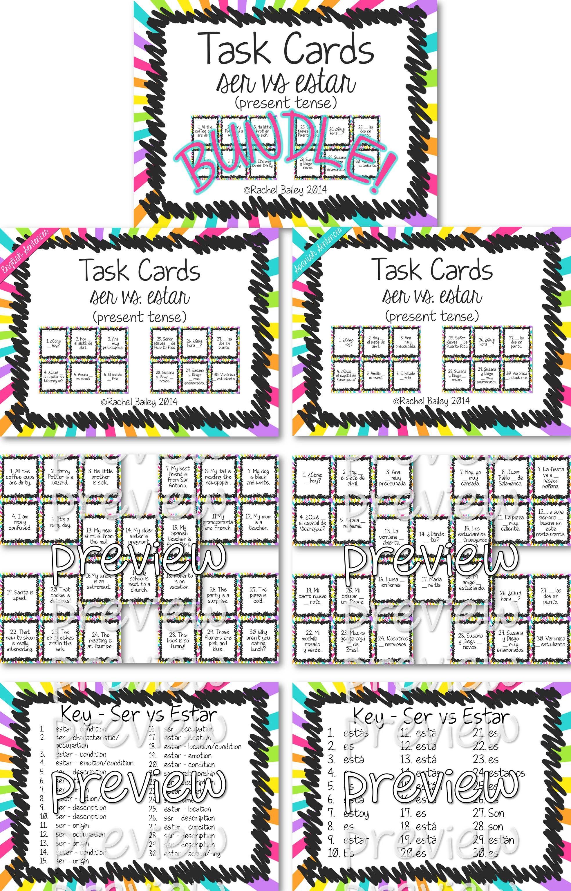 Ser Vs Estar Task Card Activity And Worksheets Bundle Task Card Activities Task Cards Card Set