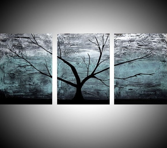 Triptych Multi Color 3 Panel Wall Art Turquoise Black White Impasto Tree In Wood
