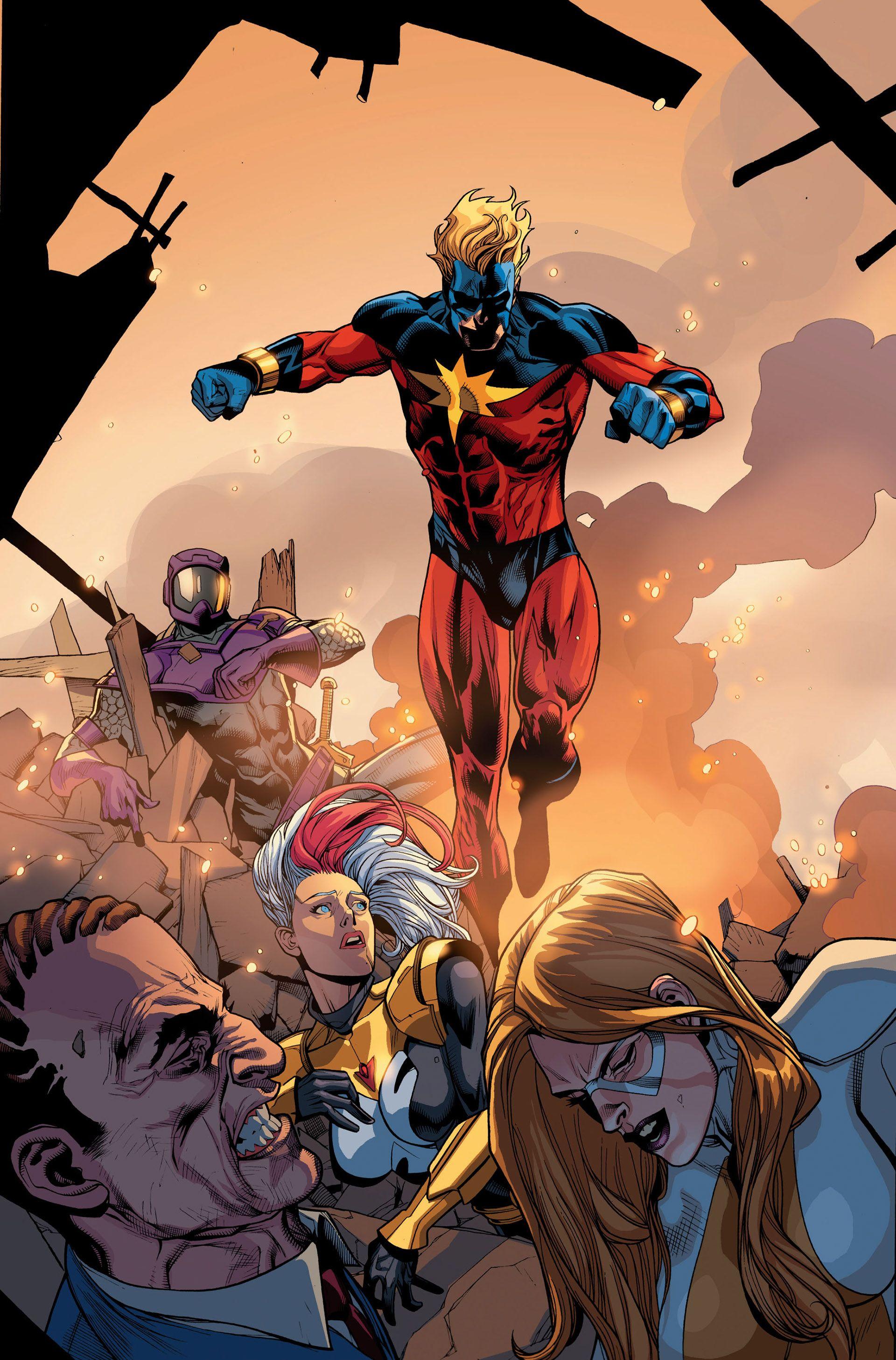 Captain Marvel (Skrull Agent) vs Thunderbolts by Jim Cheung,,,,,,!!!!>>