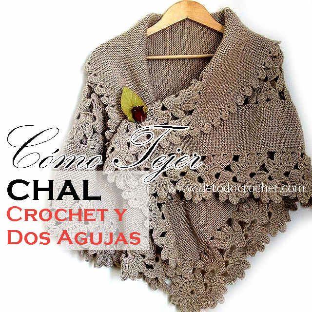 Chal para tejer con dos agujas y crochet Más | Costura | Pinterest ...