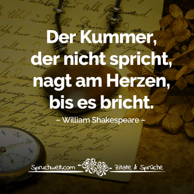 Der Kummer Der Nicht Spricht Nagt Am Herzen Bis Es Bricht William Shakespeare Zitat