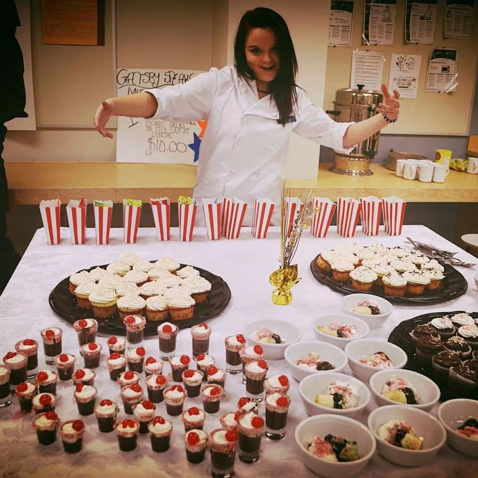 Murder mystery dessert table with chef Caitlin