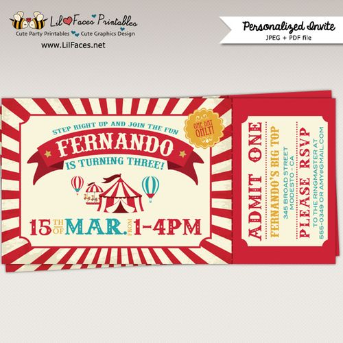 Printable Vintage Circus or Carnival Birthday Ticket Invitation – Printable Ticket Invitations