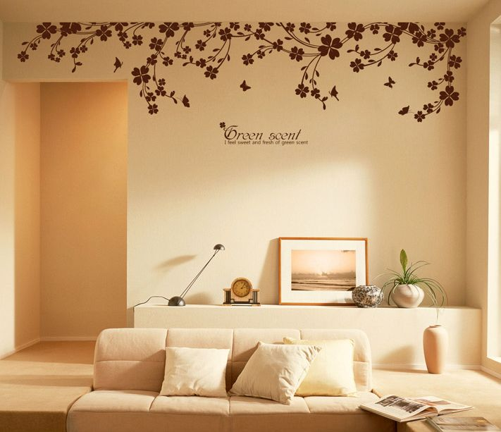 "Wall Decor Decals 90"" x 22"" large vine butterfly wall decals removable decorative"
