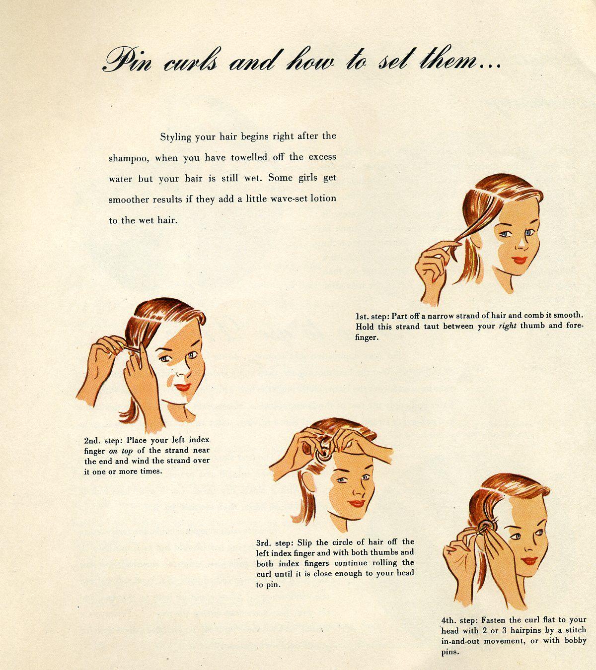 vintage pin curls diagram 5 mini usb wiring how to vanidad pinterest peluqueria
