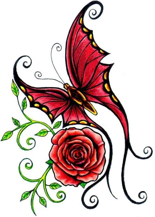butterfly sweet rose by ed hardy vorlagen f r lederkunst tattoo ideen tattoo vorlagen. Black Bedroom Furniture Sets. Home Design Ideas