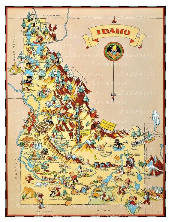 Vintage IDAHO MAP - Instant Digital Download - vintage ...