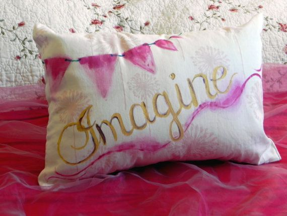 Pink and Gold Watercolor Imagine Pillow with Flag & Dandelion Pattern, with Pillow Form on Etsy, $32.00