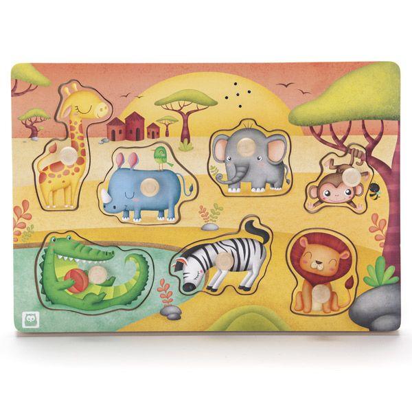 Animal del parque zoológico de Madera Jigsaw niños de los niños del bebé