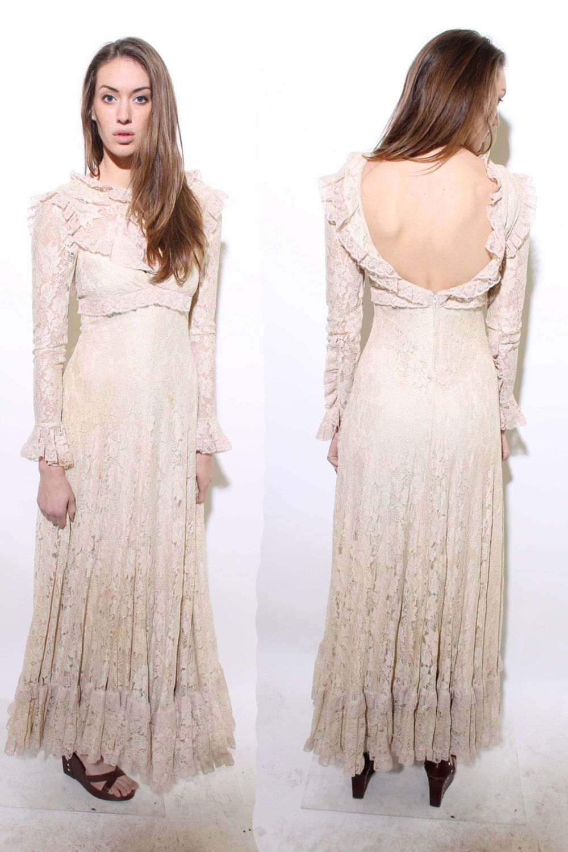 S frank usher lace gown wedding bridal victorian frill ruffle folk