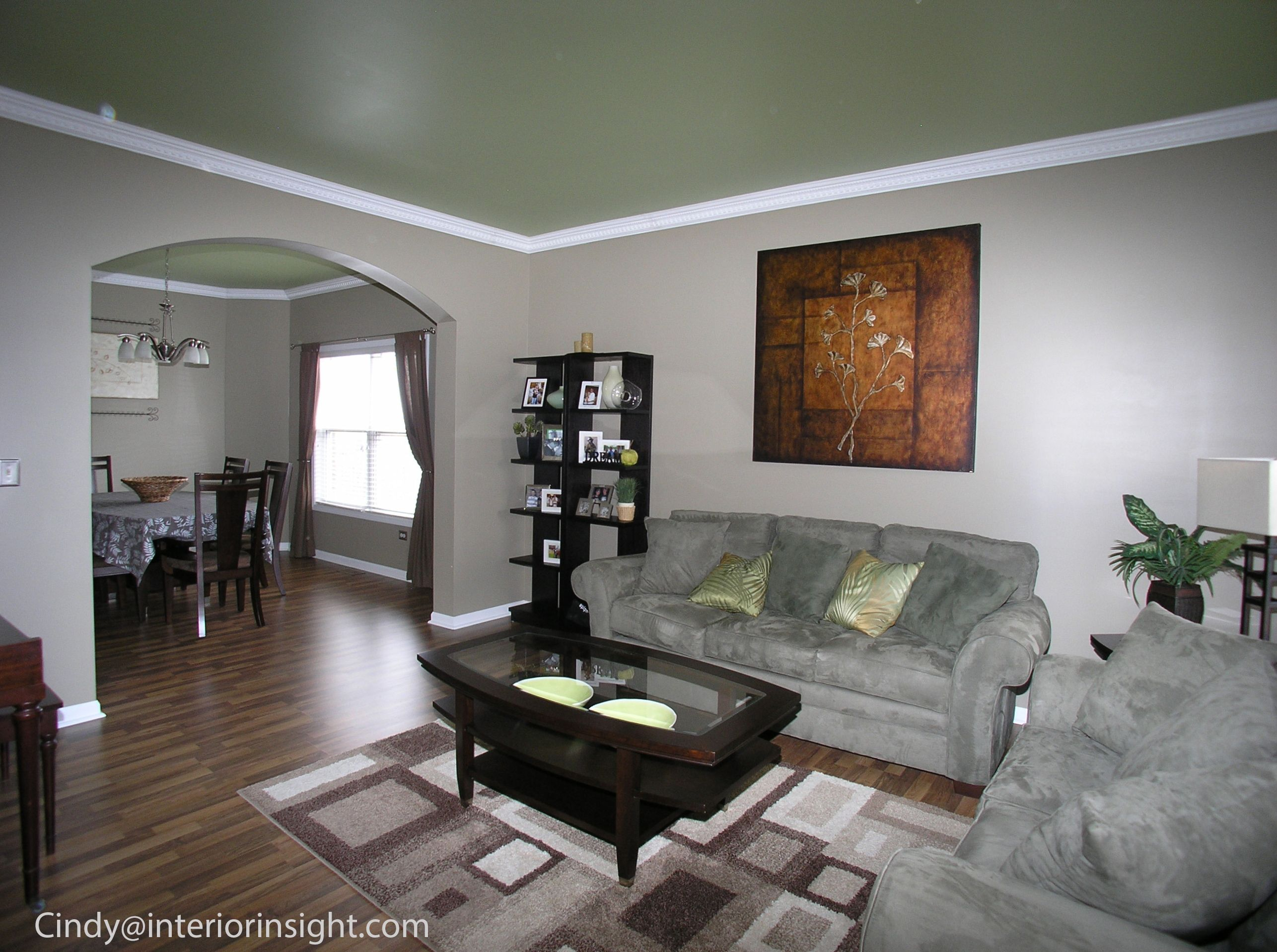 Bright Bold Green Ceilings Play Off The Light Grey Walls In This Living Room Dining