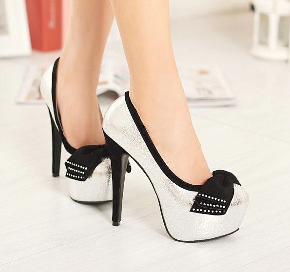 Silver High Heels With Bows 1a6oWXKa