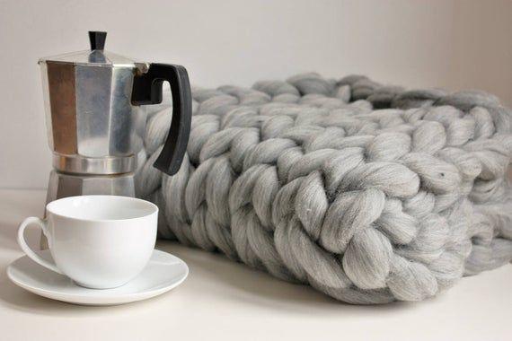 Photo of Chunky Knit Blanket, Giant Knit Throw, Merino Throw Blanket, Giant Arm Knit Blanket, Giant Knit Thro