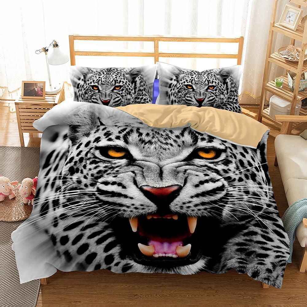 3d Animal Snow Leopard Printed Bedding Queen Size Bed Linen