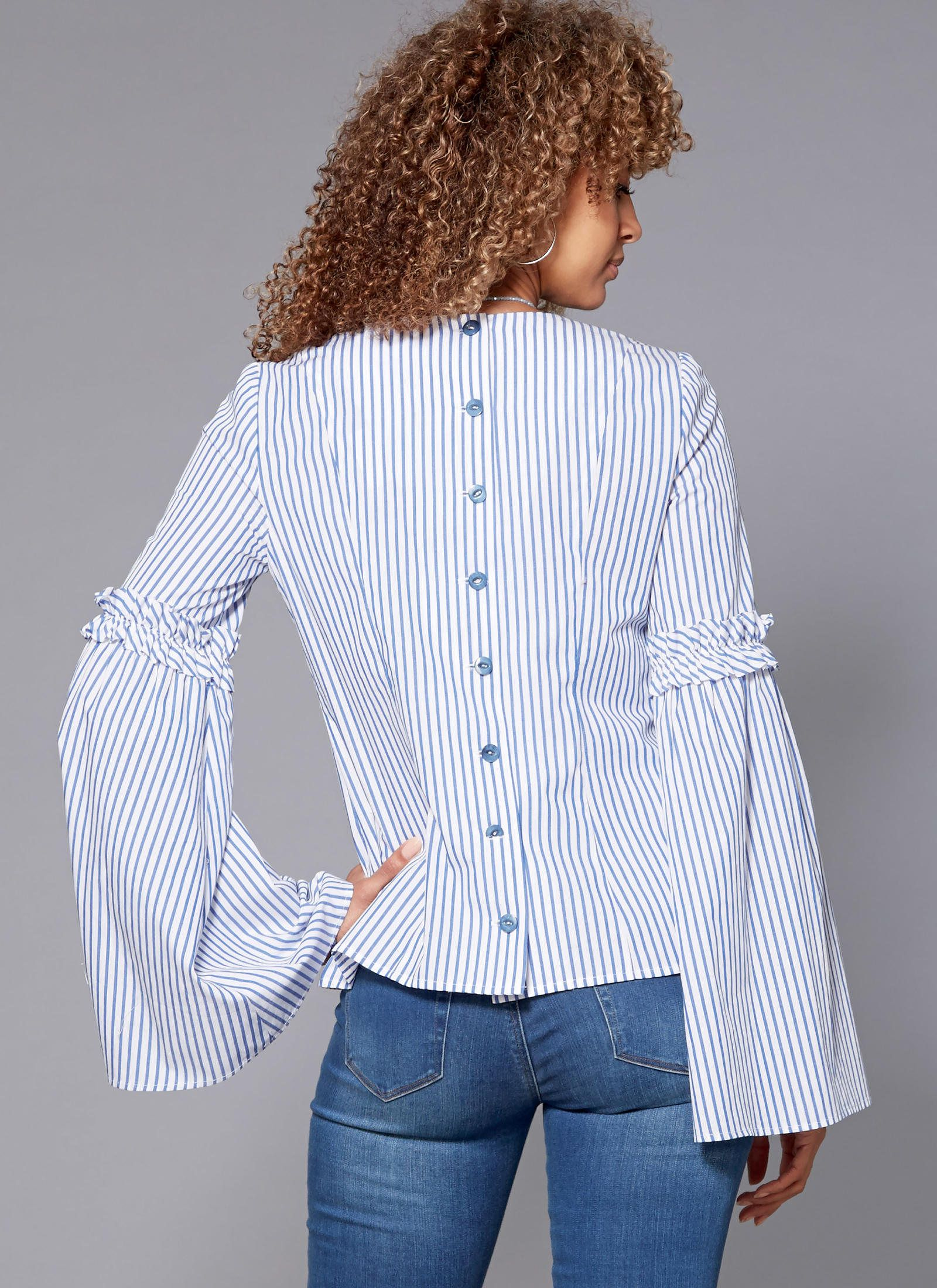 Mccall S Sewing Pattern M7687 Misses Back Button Tops With Sleeve