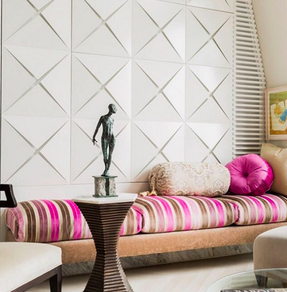 The Origami Inspired Wall Texture Adds A Modern Feature To This Classic Room