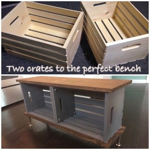 Easy Crate Diy Bench On Wheels Crate Furniture Diy Diy Storage Bench Crate Bench
