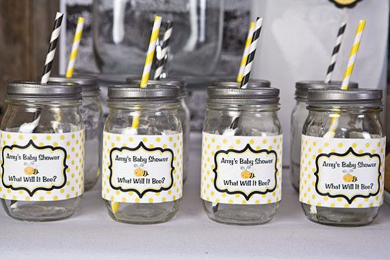 Baby Shower Favors Yellow ~ Water bottle labels baby shower decorations yellow