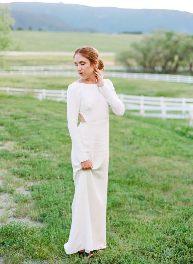 A Modern Houghton Bride In Her Long Sleeve Open Back Silk Cheyne Wedding Gown Featured On Style Me Pretty Houghton Bride Bride Modern Bride