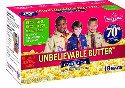 Support our local scouts! Trail's End Popcorn Unbelievable Butter Microwave Popcorn : All Products