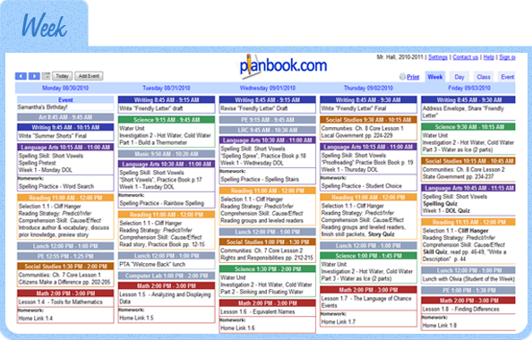 Planbook.com- Online lesson planning.. common core standards are accessible with just a click and you can add them to your plans