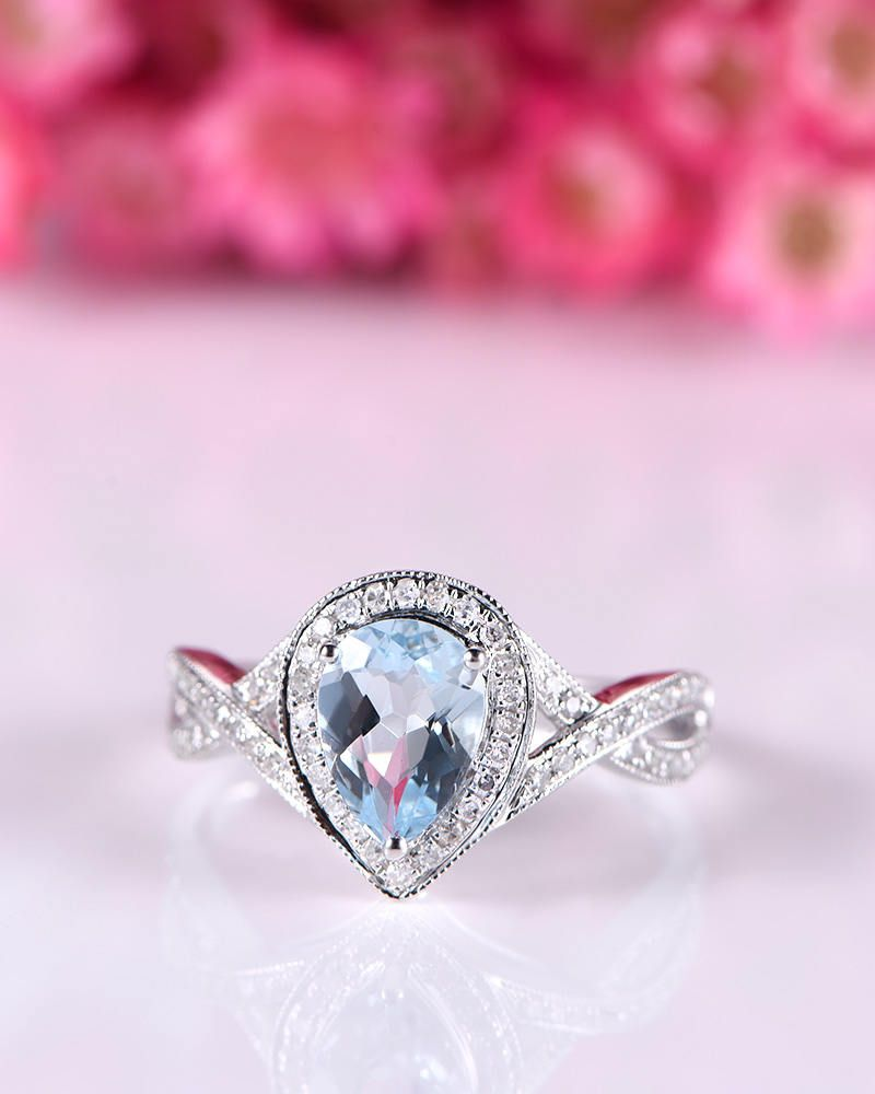 engagement half rose rings ring halo band pin set diamond natural in gold aquamarine eternity wedding