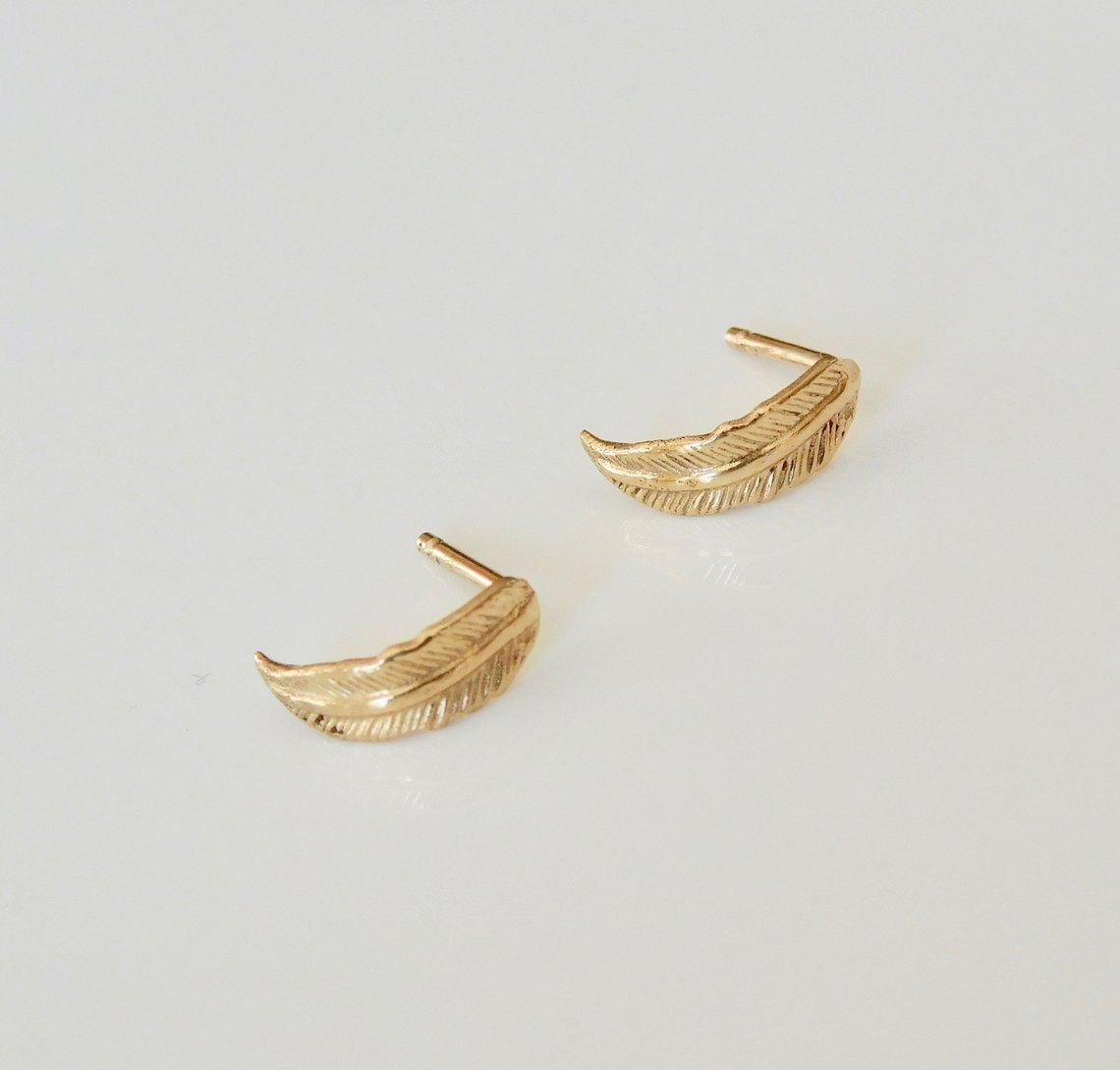 14k Gold Feather Stud Earrings Gold Feather Earrings Gold Earrings Studs Feather Stud Earrings