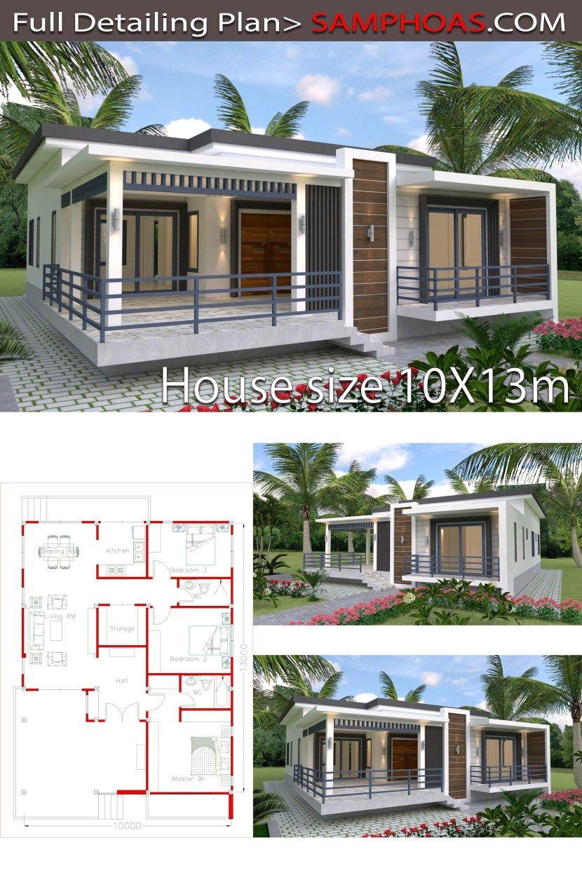 Sketchup Home Design Plan 10x13m Samphoas Plan Bungalow House Plans Little House Plans Bungalow House Design