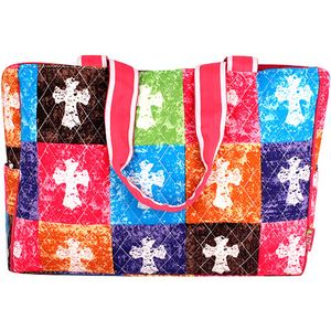 $15.50 Quilted Stone Wash Cross Diaper Bag with Hot Pink Trim