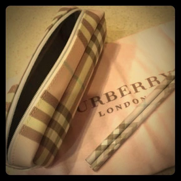 b50d06fd8697 Burberry Pink Candy Check Cosmetic   Pencil Case    Never been used. PRICE