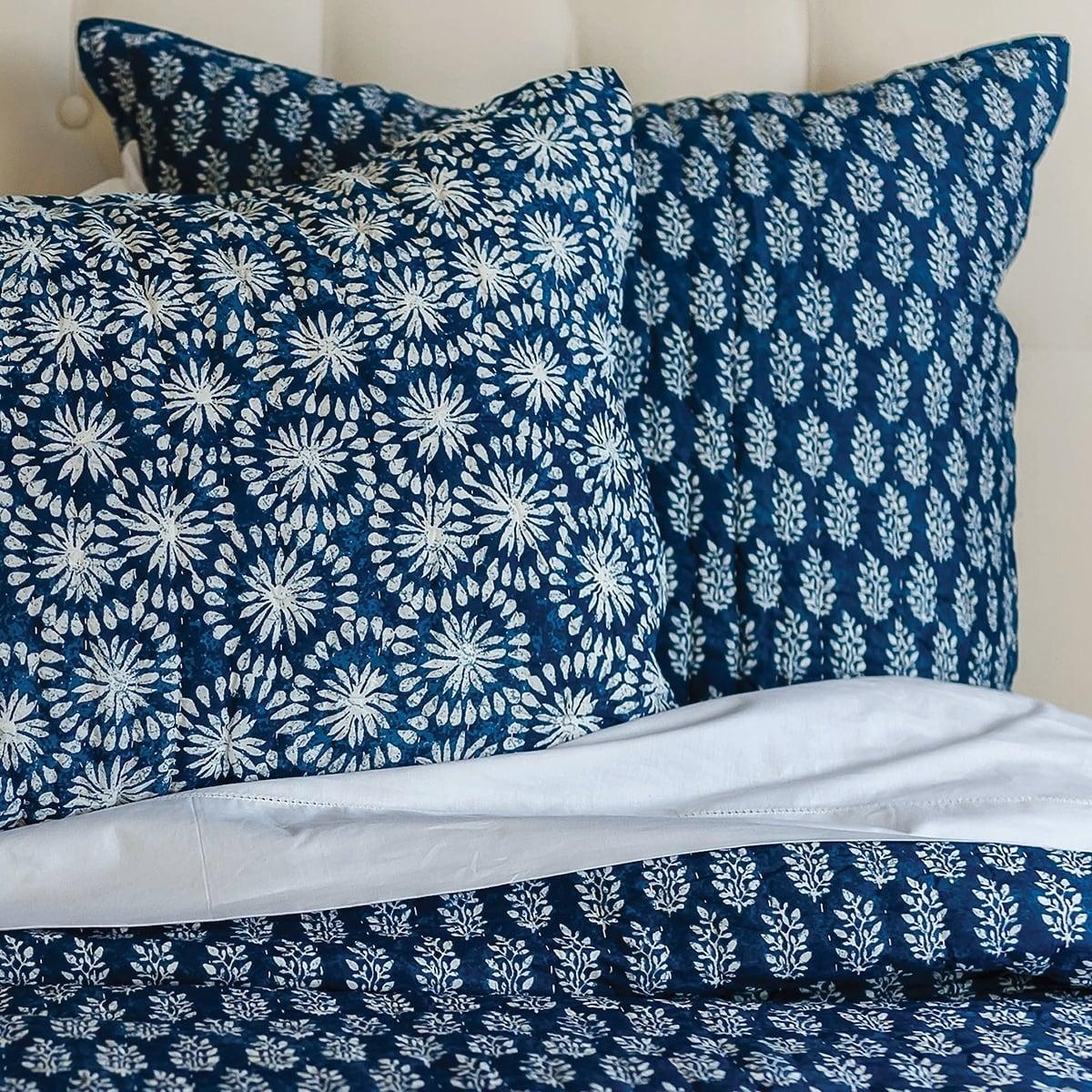 Adhira Hand Stitched Cotton Sham (Standard), Blue, C&F