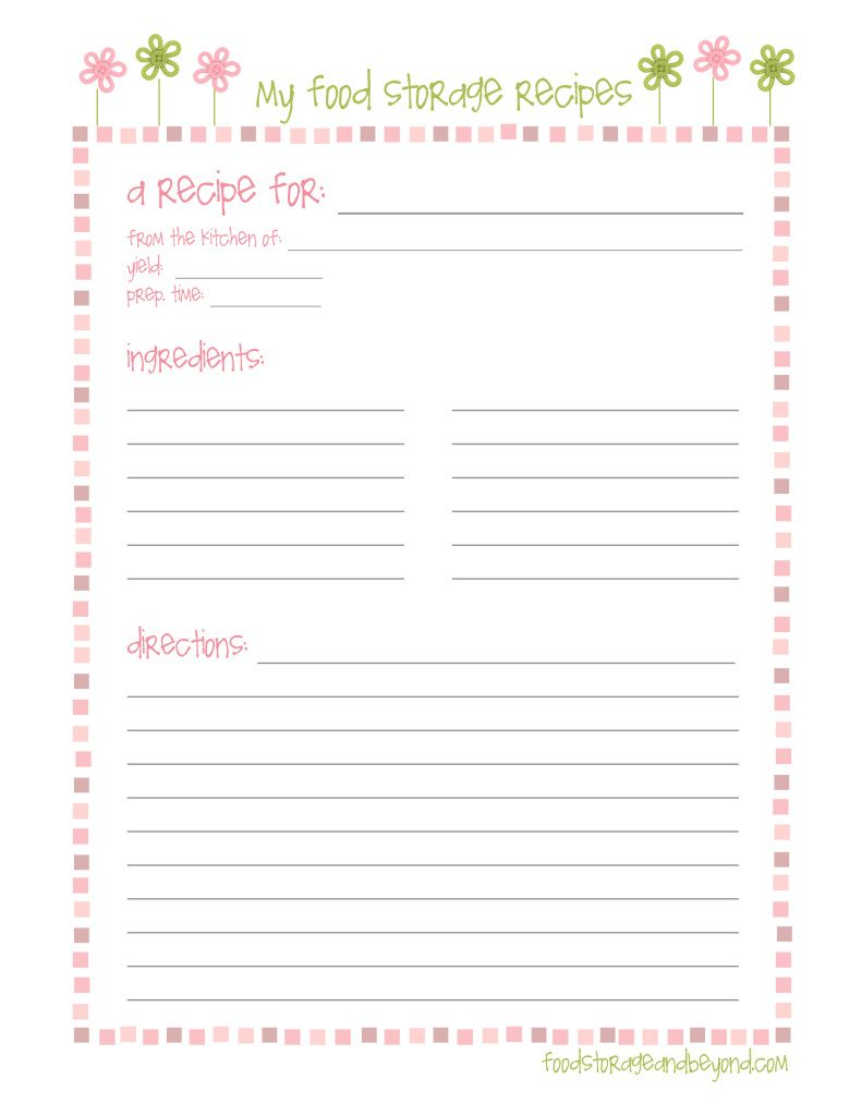 Fsb Full Page Recipe Card Recipe Cards Template Recipe Book Templates Recipe Cards Printable Free