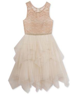 3f52bddcb Rare Editions Illusion-Lace Dress, Big Girls (7-16) - Tan/Beige 10 ...