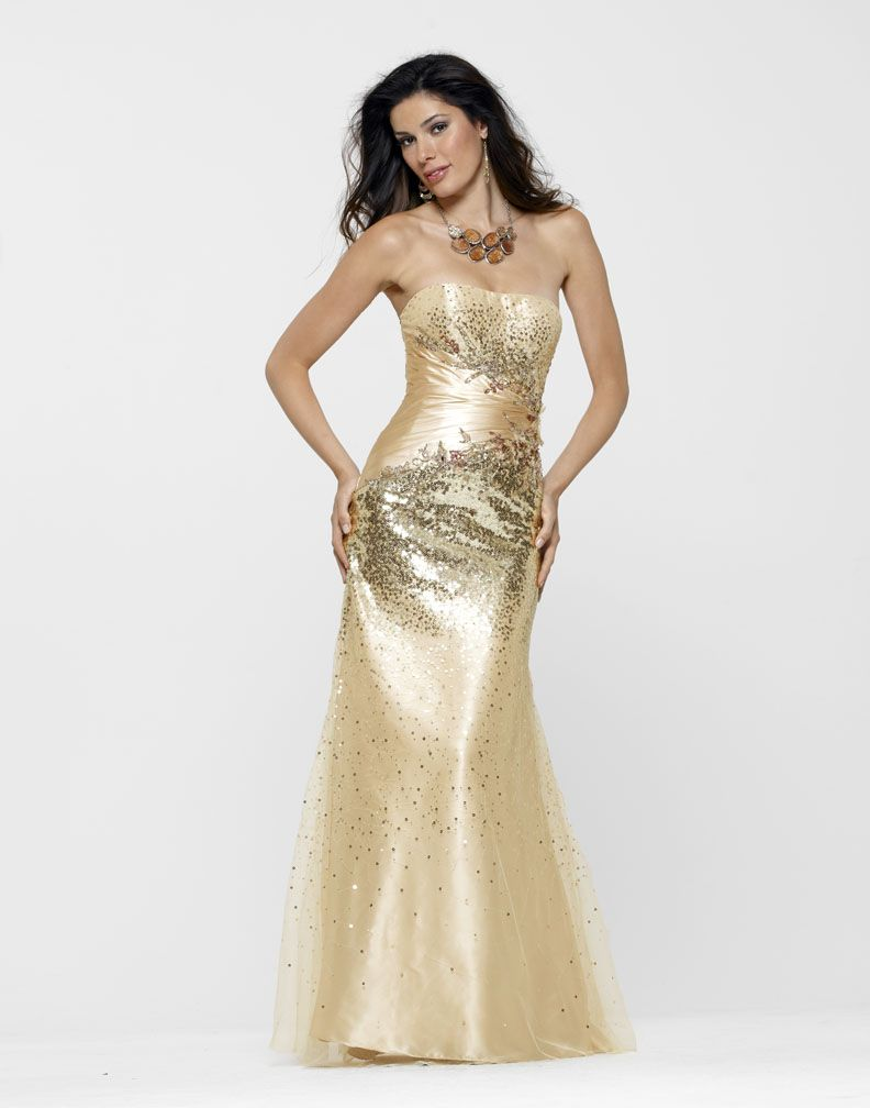 2013 Clarisse Gold Gown 2115 | Prom, Sequins and Gowns