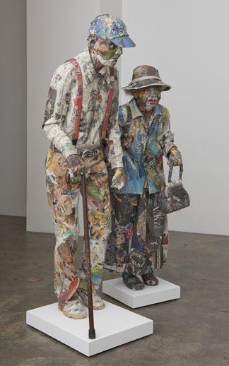 will kurtz 'the bag lady paper mache sculpture