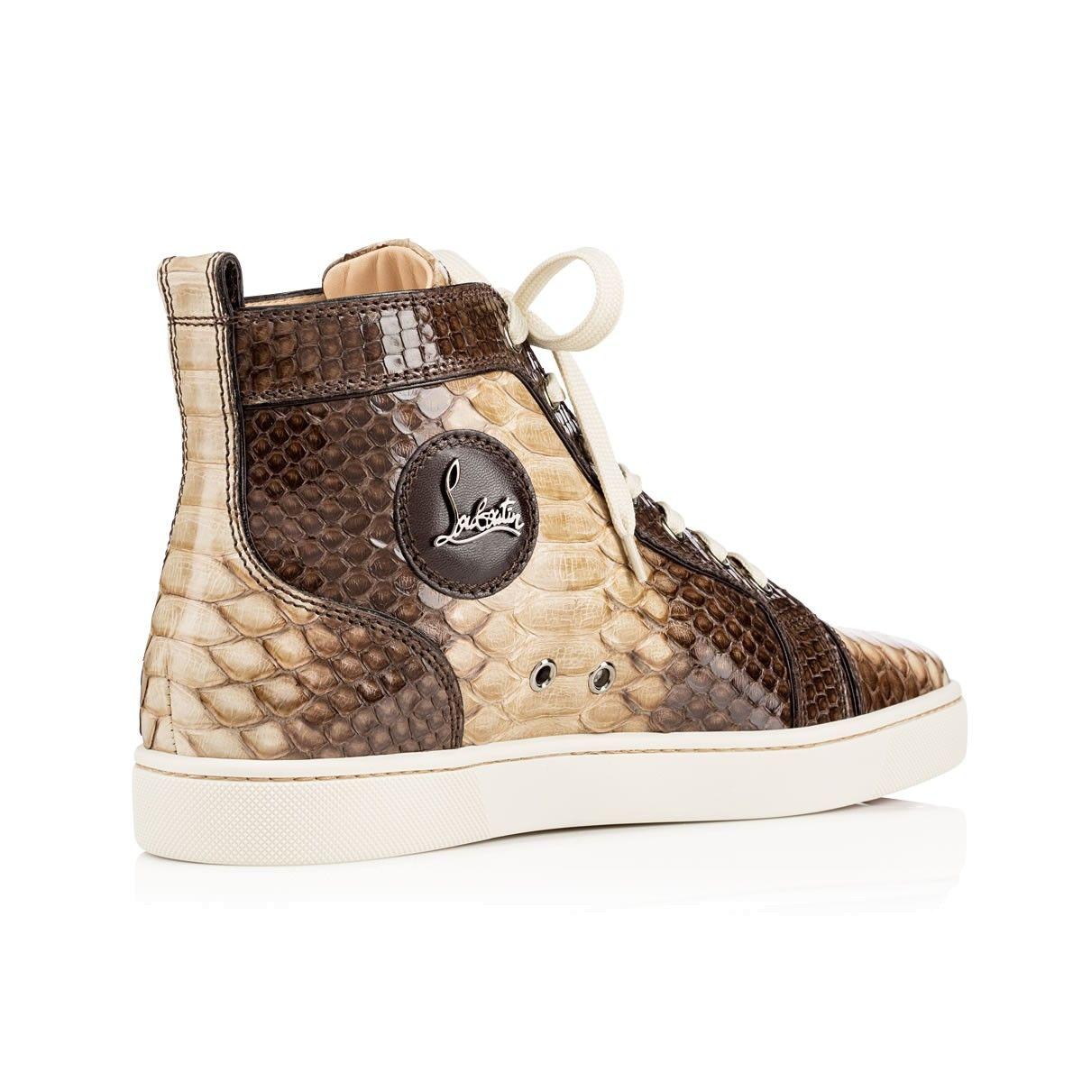 Christian Louboutin - Men's High Top Sneakers: Louis Men's Flat Lichen  Camaieu Python